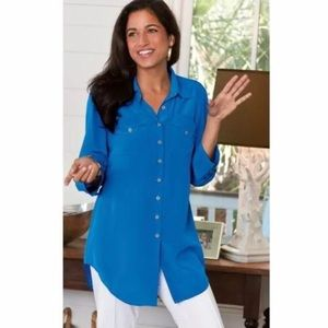 Soft Surroundings Blue 100% Silk Shapely Shirt